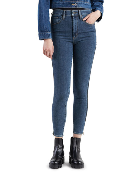 Levi's Premium Mile High Mid-Rise Skinny Jeans with Side Zippers