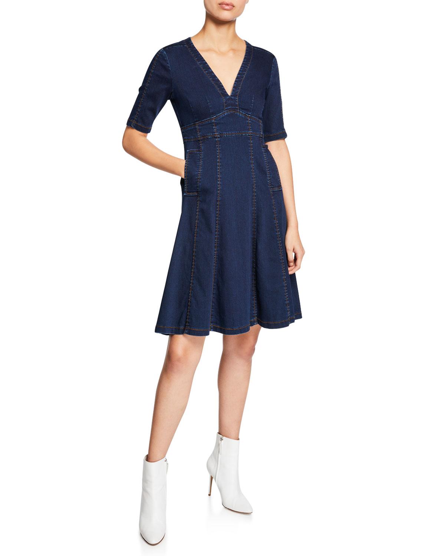 Nanette Lepore Explorer V-Neck Short-Sleeve Denim Dress