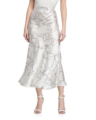 Iva Floral-Print Silk Midi Skirt