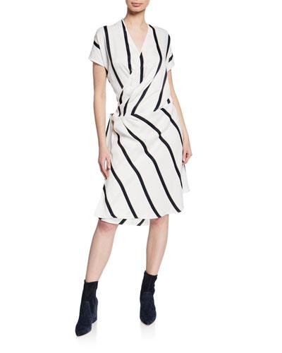 Leonce Striped Short-Sleeve Wrap Dress
