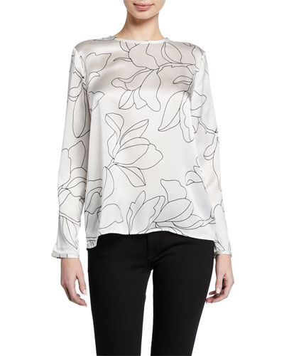 Alisanne Floral-Print Long-Sleeve Silk Blouse