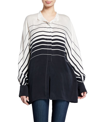 Sedaine Striped Colorblock Long-Sleeve Shirt