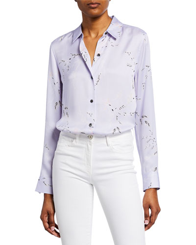 Essential Printed Button-Down Silk Shirt