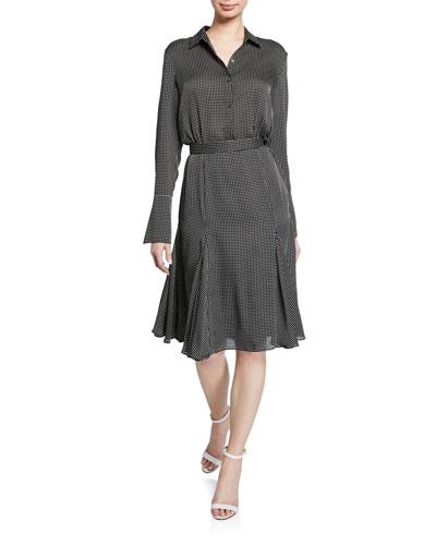 Bancort Check Long-Sleeve Dress