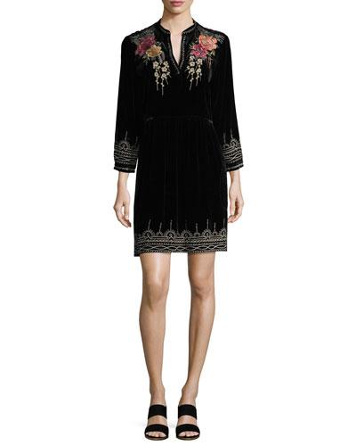 Flores 3/4-Sleeve Boho Velvet Dress w/ Floral Embroidery, Petite