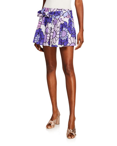Milli Pleated Floral-Print Belted Mini Skirt