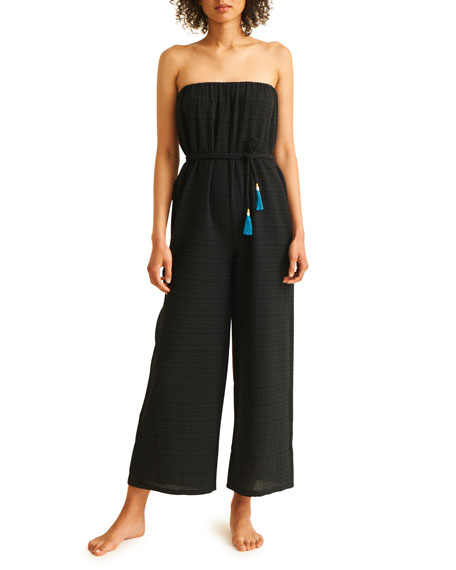 Skin Dessa Strapless Wide-Leg Jumpsuit with Tassel Ties