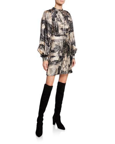 Pascala Long-Sleeve Silk Dress