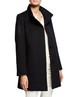 1e65a0b2d42 Fleurette Cashmere-Wool One-Button Car Coat