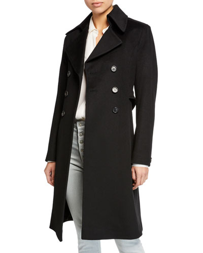 Double-Breasted Back-Belt Wool Coat