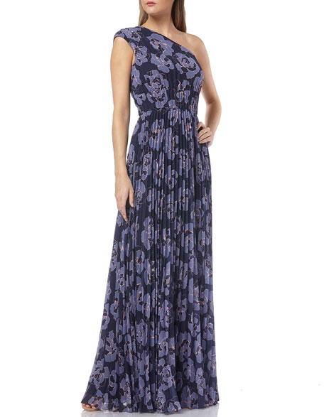 Kay Unger FLORAL-PRINTED ONE-SHOULDER PLEATED CHIFFON GOWN