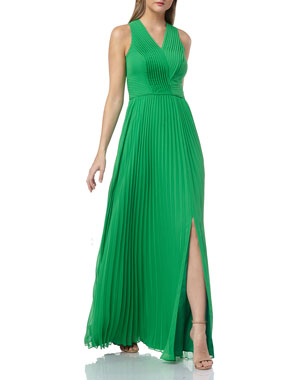 6d8537bd49 Kay Unger New York Sleeveless Chiffon Pleated Gown with Pintucked Bodice