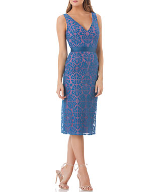 6763c076f4d6 Kay Unger New York V-Neck Sleeveless Lace Sheath Dress with Grosgrain Ribbon