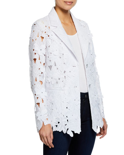 Peek-A-Boo 3D Open Floral Lace Button-Front Jacket  Plus Size