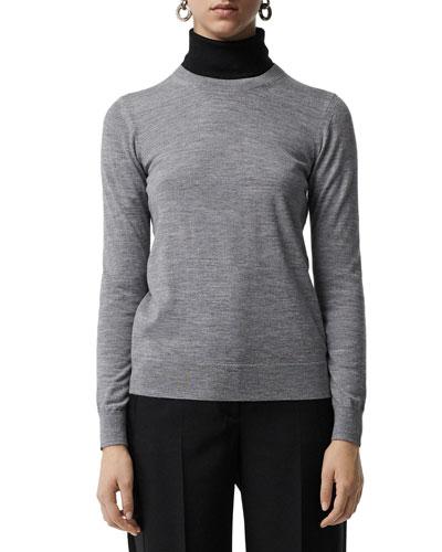 Bempton Crewneck Long-Sleeve Merino Wool Sweater