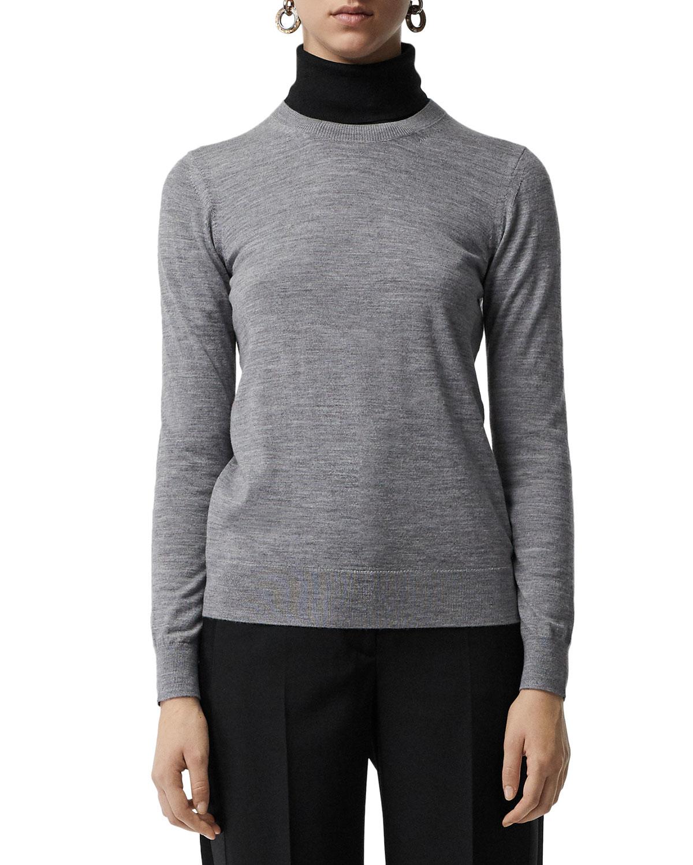 a96048e609ee52 Burberry Bempton Crewneck Long-Sleeve Merino Wool Sweater