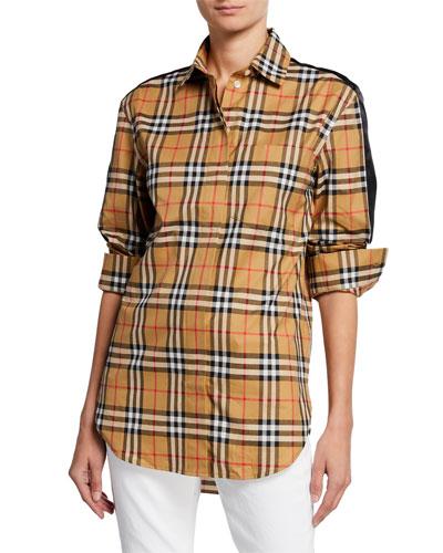Saoirse Long-Sleeve Satin-Stripe Check Shirt
