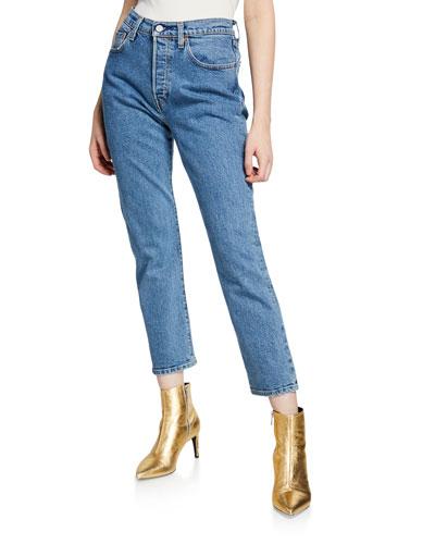 501 Crop Mid-Rise Straight-Leg Jeans
