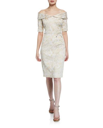 Off-the-Shoulder Short-Sleeve Metallic Stretch Jacquard Sheath Dress