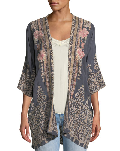 Helena Open-Front 3/4-Sleeve Embroidered Georgette Kimono  Petite