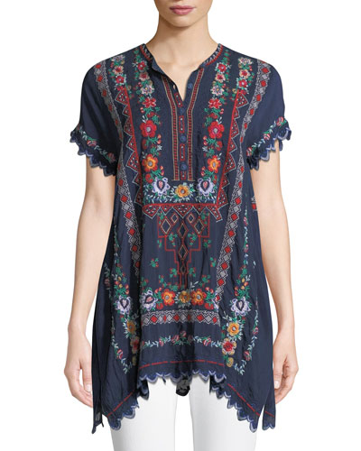 Liesse Short-Sleeve Embroidered Georgette Easy Tunic