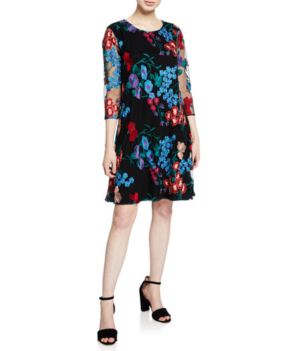 Petite Fresh Flower Embroidered 3/4-Sleeve Dress
