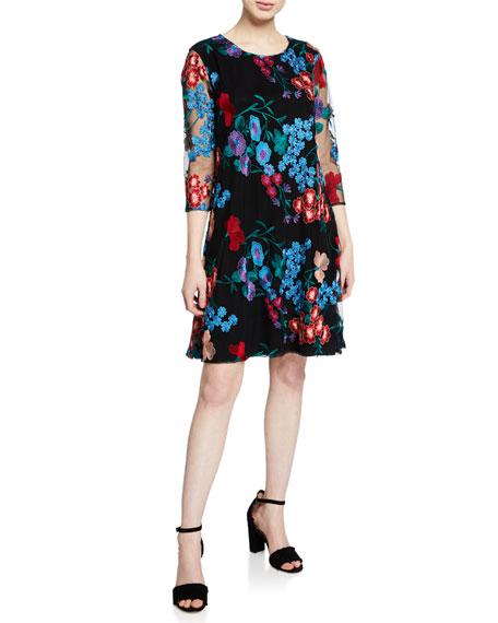 Caroline Rose PETITE FRESH FLOWER EMBROIDERED 3/4-SLEEVE DRESS