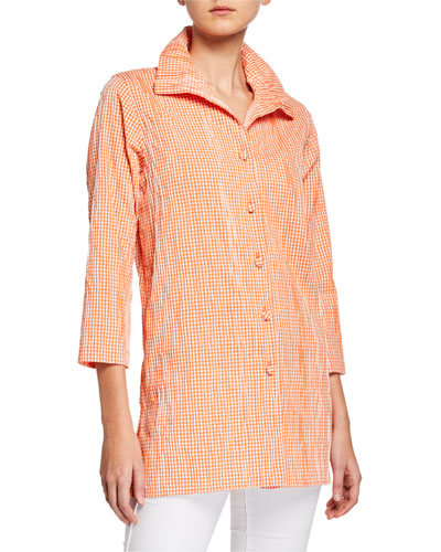 Petite Button-Front Crinkled Gingham Shirt with Ruched Collar