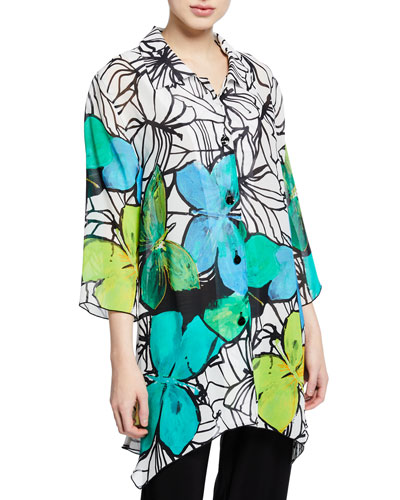 Petite Butterfly-Print Button-Front 3/4-Sleeve Swing Shirt