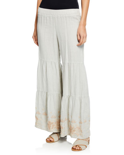Sienne Wide-Leg Tiered Linen Palazzo Pants w/ Embroidered Hem  Petite