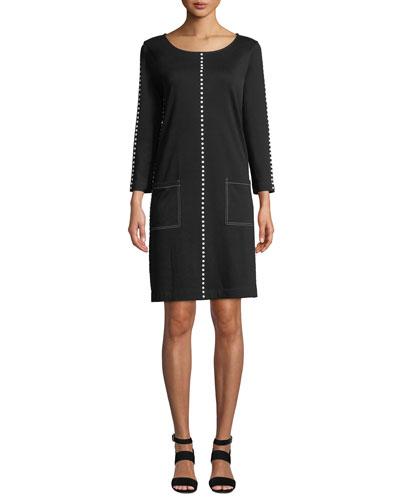 Petite Scoop-Neck 3/4-Sleeve Cotton Interlock Dress w/ Patch Pockets & Studded Trim