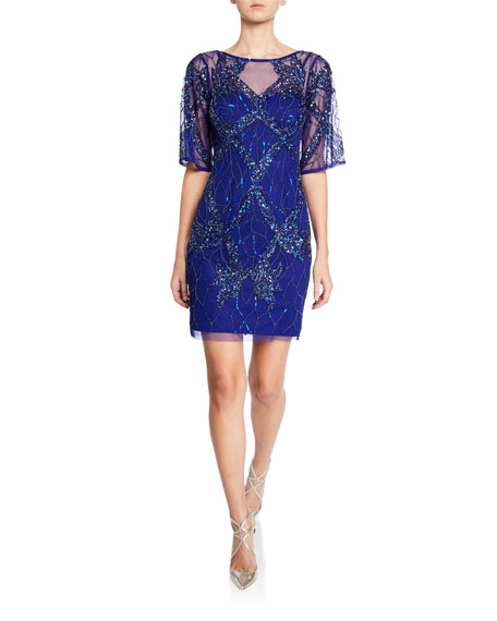 Aidan Mattox Boat-Neck Half-Sleeve Beaded Cocktail Dress
