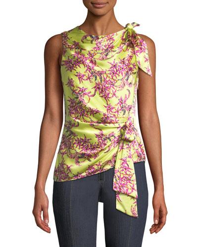 Nanon Gathered Floral Sleeveless Silk Top