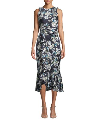 Mirna Floral-Print Flounce Cocktail Dress