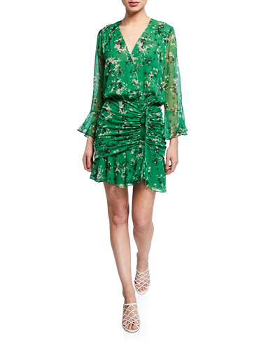Sean Floral-Print Ruched Flounce Dress