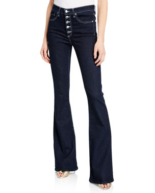 842084bdf2 Veronica Beard Beverly High-Rise Skinny Flare Jeans with Button Fly