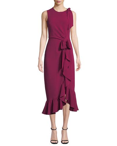 Nanon Crepe Ruffle Sleeveless Cocktail Dress