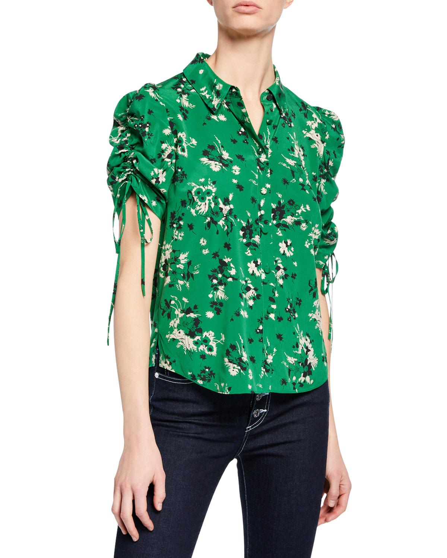 a312b9a9555064 Veronica Beard Carmine Ruched-Sleeve Silk Button-Front Blouse ...