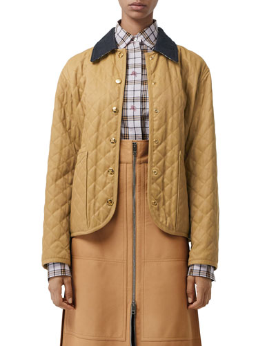 Button-Front Long-Sleeve Diamond-Quilted Barn Jacket