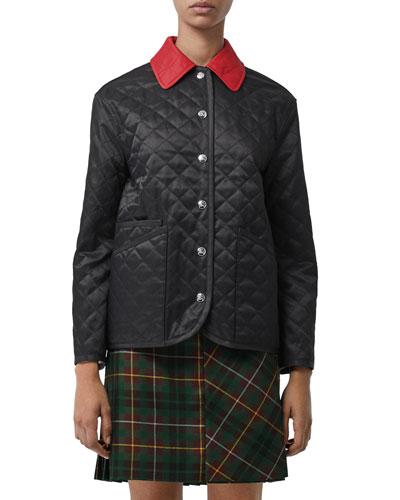 Button-Front Diamond Quilted Barn Jacket with Contrast Collar, Black