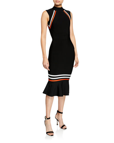 Serene Mock-Neck Sleeveless Flared-Hem Body-Con Dress w/ Stripes