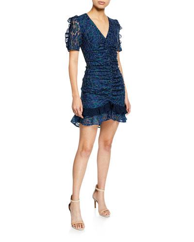 Paradise V-Neck Short-Sleeve Ruched Lace Dress w/ Ruffle Trim