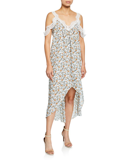 Elliatt ELIXIR COLD-SHOULDER FLORAL-PRINT HIGH-LOW MIDI DRESS