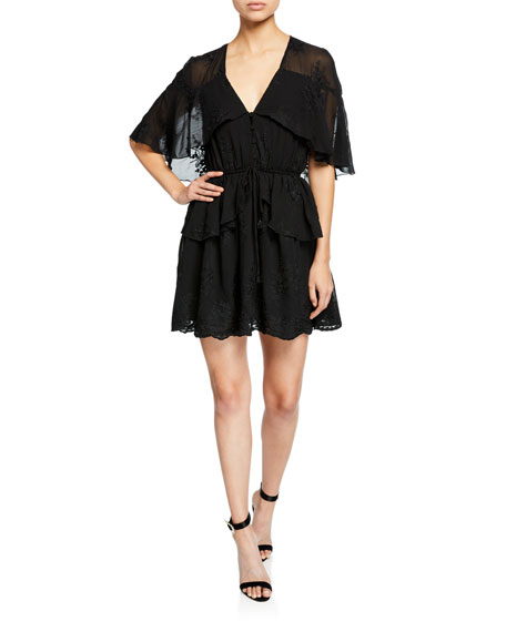 Elliatt FASCINATE V-NECK CAPE-SLEEVE EMBROIDERED MINI DRESS W/ DRAWSTRING-WAIST