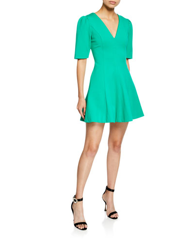 Valley V-Neck Elbow-Sleeve Fit-and-Flare Mini Dress