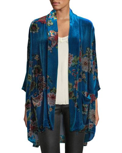 Vivian Printed Velvet Kimono Jacket  Petite