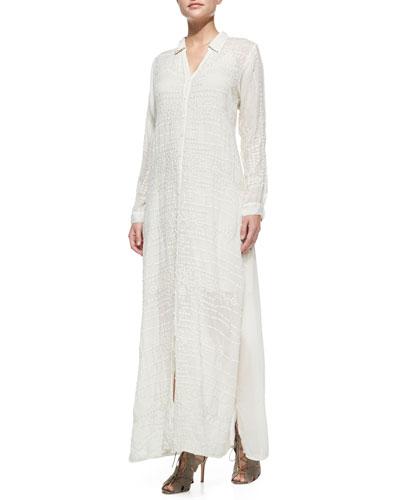Georgette Button-Front Long Dress, Petite
