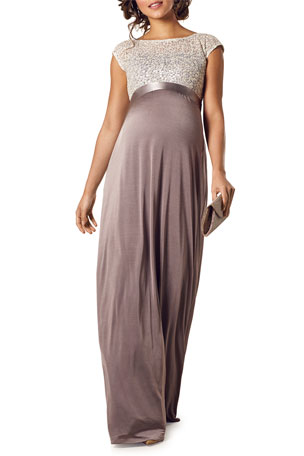 Tiffany Rose Maternity Mia Cap-Sleeve Gown with Sequin Bodice & Full-Length Skirt