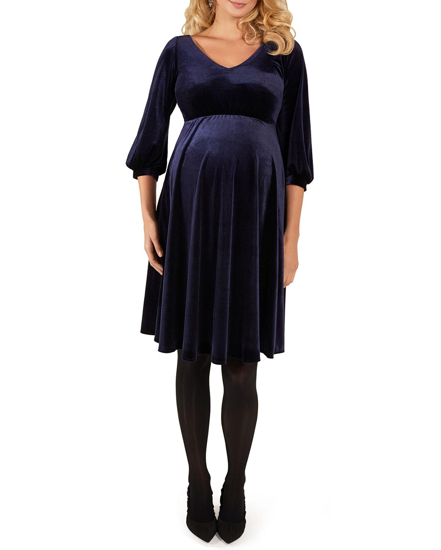 f98f6221c672 Tiffany Rose Maternity Roxie V-Neck Bishop-Sleeve Velvet Dress ...