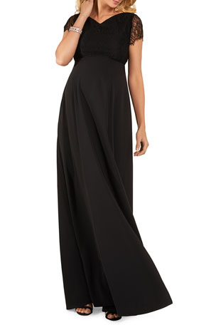 Tiffany Rose Maternity Eleanor Short-Sleeve Matte Crepe Satin Gown with Lace